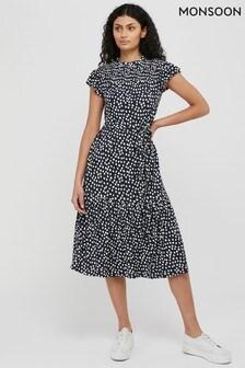 Monsoon Blue Serenity Spot Print Jersey Midi Dress