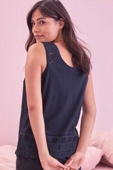 Black Broderie Cotton Vest
