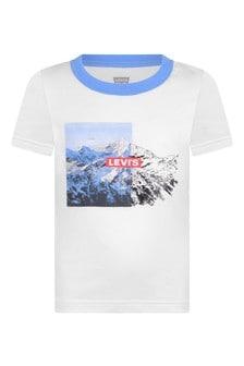 Boys White Cotton Jersey Logo T-Shirt