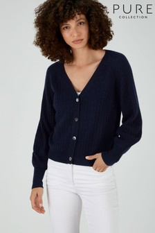 Pure Collection Blue Gassato Balloon Sleeve Ribbed Cardigan