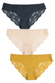 Navy/Ochre/Nude Brazilian No VPL Lace Back Briefs 3 Pack