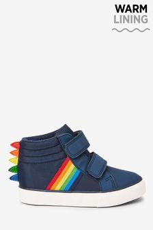 Navy Rainbow Dinosaur Spike Boots (Younger)