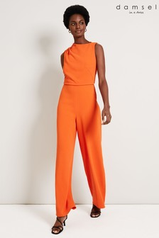 Damsel In A Dress Orange Jovie Wide Leg Jumpsuit
