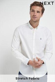 White Regular Fit Long Sleeve Stretch Oxford Shirt