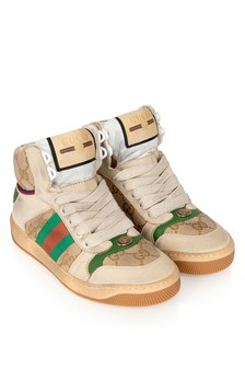 Kids Beige And Green Screener High Trainers