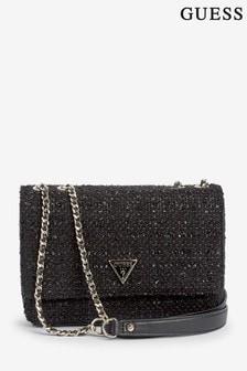 Guess Black Cessily Woven Crossbody Bag