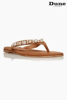 Dune London Brown Noele Embellished Flat Sandals