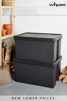 Set of 2 Bam 96L Heavy Duty Recycled Boxes by Wham