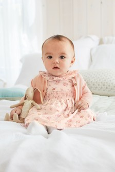 Pink Floral Prom Dress And Cardigan Set (0mths-3yrs)