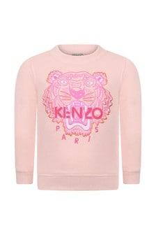 Baby Girls Pink Tiger Cotton Sweater