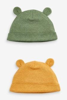 Ochre 2 Pack Bear Beanie Hats (0-18mths)