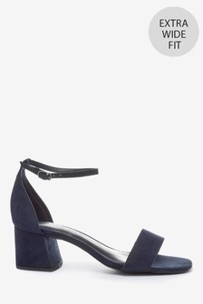 Navy Extra Wide Fit Forever Comfort® Simple Block Heel Sandals