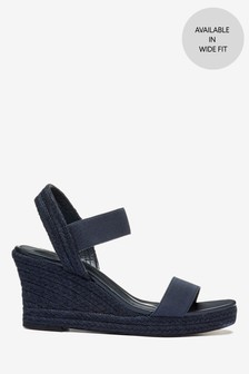 Navy Regular/Wide Fit Square Toe Espadrille Wedges
