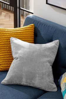 Mid Grey Soft Velour Large Square Cushion