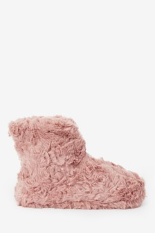 Pink Textured Faux Fur Boot Slippers