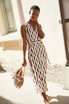 Ecru Print Sleeveless Belted Midi Dress