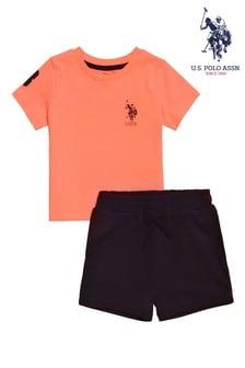 U.S. Polo Assn Orange Player 3 Shorts Set