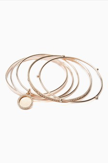 Rose Gold Tone Sparkle Bangle Pack