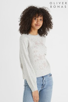 Oliver Bonas Grey Beaded Flower Knitted Jumper