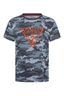 Boys Blue Camouflage Cotton Logo T-Shirt