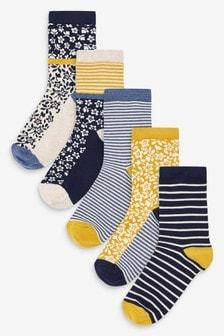 Blue Ditsy Floral Mix Ankle Socks 5 Pack