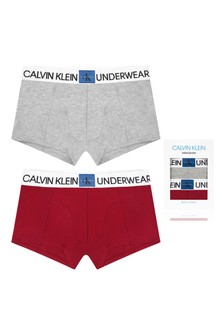 Boys Grey/Red Cotton Boxer Shorts Two Pack