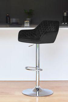 Opulent Velvet Black Hamilton Chrome Leg Bar Stool