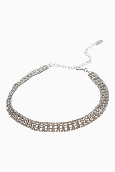 Silver Tone Sparkle Choker Necklace