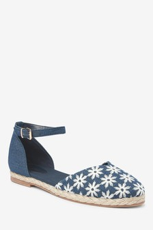 Denim Espadrille Two Part Shoes