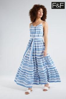 F&F Block Print Strappy Midi Dress