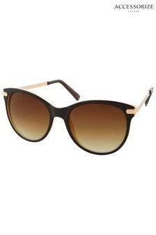 Accessorize Brown Rubee Flat Top Sunglasses