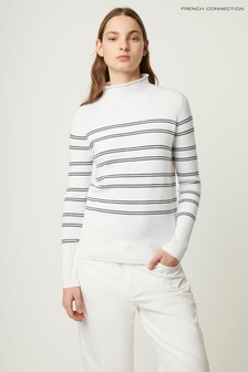 French Connection White Fitted Roll Neck Side Stripe Jumper