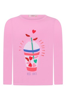 Girls Pink Cotton Jersey Long Sleeve T-Shirt