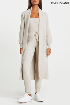 River Island Beige Mix Stitch Maxi Cardigan