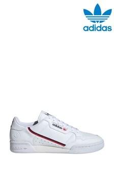 adidas Originals White/Red Continental 80 Vegan Trainers