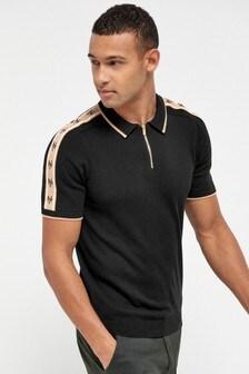 Black/Gold Arm Stripe Premium Zip Polo