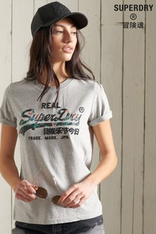 Superdry Vintage Grey Logo Infill T-Shirt
