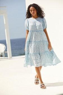 Blue Wash Broderie Midi Dress