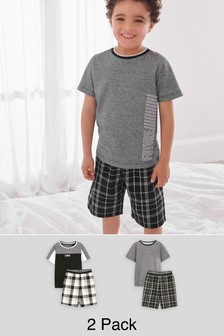 Monochrome 2 Pack Check Short Pyjamas (3-16yrs)