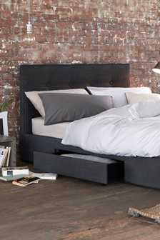 Simple Contemporary Charcoal Studio Two Drawer Bed
