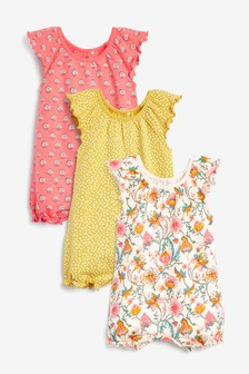 Coral 3 Pack Floral Rompers (0mths-3yrs)