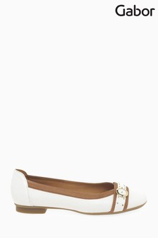 Gabor White Michelle Leather Shoes