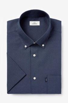 Navy Print Regular Fit Short Sleeve Easy Iron Button Down Oxford Shirt