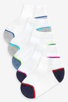 White 5 Pack Cotton Rich Cushioned Sole Trainer Socks (Younger)