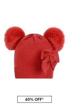 Girls Red Knitted Pom Pom Hat