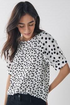 Mono Spot Puff Sleeve Top