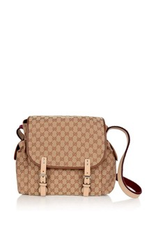 GUCCI Kids Baby Beige/Red GG Canvas Changing Bag