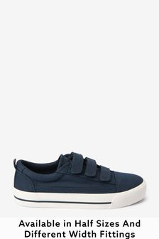 Navy Standard Fit (F) Strap Touch Fastening Shoes
