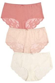 Pink/Coral/Cream Midi No VPL Lace Back Briefs Three Pack