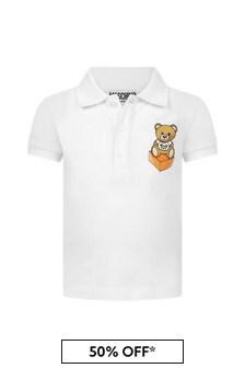 Moschino Kids Baby Boys White Cotton Poloshirt